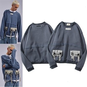 Fog high street Kanye same Multi Pocket stitching Plush sweater ins men's and women's street hip hop loose crew neck topGZBKFGHRH1U9