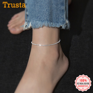 TrustDavis Minimalista 100% 925 Sterling Silver Fashion BabysBeath Cadena Tobilleras para mujer Boda Silver 925 Regalo de joyería LJ201007