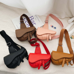 INS New Girls One-shoulder Messenger Bag children PU leather saddle Bag Kids princess bust bag Mini Purse A5224