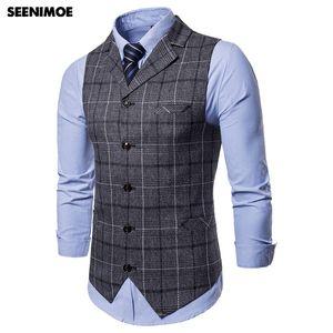 SEENIMOE Mens Wedding Waistcoat Striped Plaid Formal Blazer vests Casual Single Breasted V-neck M-4XL Male Suit Vest 201123