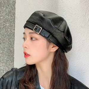 Outdoor Beret Women All-match Fashion Hat Autumn and Winter New Leather PU Beret Hat Cap