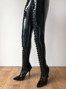 Crotch Hard Shaft Lace up Boots High Heel Stiletto Black Patent Leather Pointed Toe Shaft 95 cm Shoes Women Winter Runway Stage