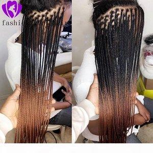 Sentetik Örgülü Dantel Ön Peruk Siyah Kadınlar Için Ombre Kahverengi Isıya Dayanıklı 28 Inç Saç Örgü Peruk Premium Örgülü Kutu Örgüler Peruk