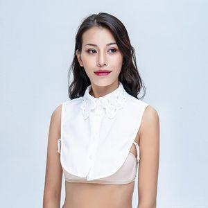 Simple Women Pure Color Lace 2019 fashion Blouses Detachable Lapel Choker Necklace Vintage Elegant Shirt Fake Collar
