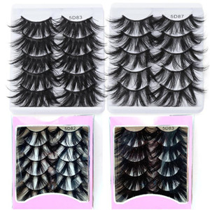 5 Pairs Long Dramatic Fluffy Eyelashes 22MM 5D Faux Mink False Eyelashes Extension Wispies Handmade Fake Makeup Tools