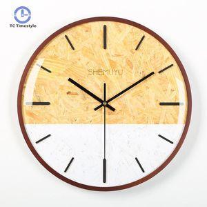 Duvar Saati Modern Tasarım Ev Dekorasyon Aksesuarları Ahşap Saatler Oturma Odası Dekor Dairesel Tek Yüz Duvar İzle