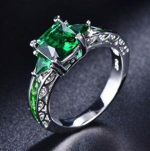 Silver Crown Emerald Bague Argent Titanium Turquoise Bleu Anneau Diamant Blanc Or Première bague de mode de luxe de luxe