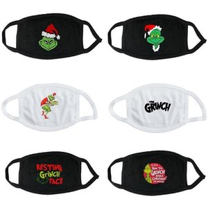 US Stock Grinch Fashion Black & White Cotton Mask Dustproof Outdoor Letter Printing Earloop Face Mask Green Hair Monster Washable Mask