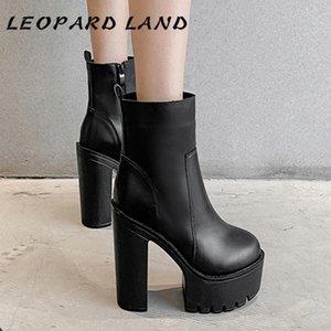Leopard Land Style Platformboots Sapatos de Salto Alto Botas Chunky-Salto Simples Inverno Chunky Heel Alta Botas curtas -5758-1