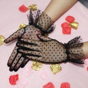 Women's Sexy Guantes Transparentes Dot Ponto Black White Mesh Tulle Luvas Feminino Clube Prom Festa Dancing Docing Glove H Jlloob