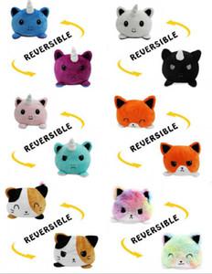 US Stock Reversible Cat Gato Kids Regalo morbido Plushie Polopus Peluche Animali a doppia faccia Flip Giocattoli Cute Giocattoli Peluches per Poloppi Bambino ragazza FY7493