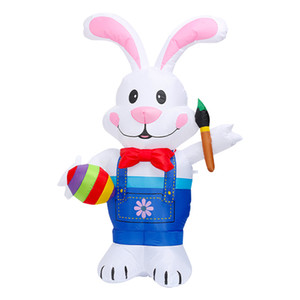 4 5 6FT Happy Easter Inflatable Toy Cartoon Mascot Rabbit Outdoor Decoration with Build in LEDs Blow up Indoor Yard Garden Lawn Decoration