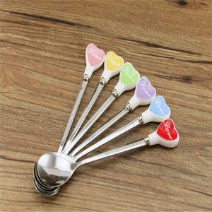 Manico lungo Shape in acciaio inox piccolo cucchiaio di caffè Cuore Cucchiaino gelato mini cucchiaio