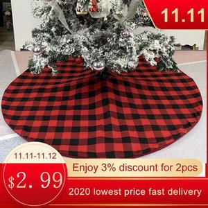 Red Checkered Christmas Tree Skirt Checkered Linen Style Set off the Festive Atmosphere Christmas Decoration Carpet