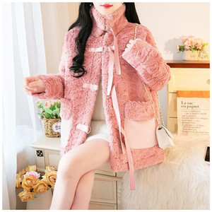 SWEETXUE 2020 Winter Thicken Ladies winter lamb fur Overcoat high collar women's Casual Fashion jacket Loose Outerwear Female