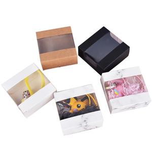Small Kraft Gift Packaging Paper Box White Black Brown Paper Cardboard Box Soap Candy Packing Kraft Paper Box 10x10x4cm LX3318