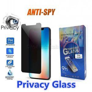 Anti Casus Gizlilik Camı iphone 11 12 Pro Max XR XS 7/8 Artı Ekran Koruyucu Gizlilik Gizlilik Temperli Cam için 6 S 8 Artı XS Max Perakende Kutusu ile
