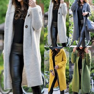 Autumn and winter in Europe and the United States burst women's casual sweater big-cardigan sweater knitting, long coat sweater