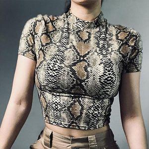2020 Sexy Crop Top Women Snake Print Tank Top Slim Primer High Collar Vest Harajuku Crop Tank T Shirt Femme Girls Camis