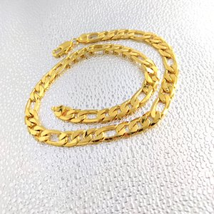 24 K Solid Yellow Fine Gold Filled Figaro Chain Link Necklace 12mm Mens Real Gold Stamp 24Carat Birthday Christmas Gift