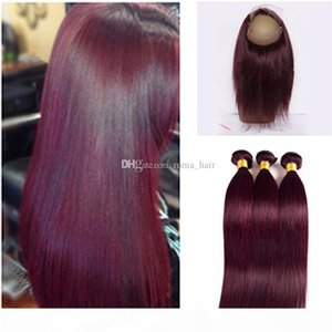 Burgundy Straight Human Hair Bundles With 360 Lace Frontal Closure 99j Wine Red Hair With 360 Full Lace Frontal Closure 4Pcs lot