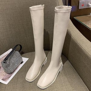 2020 Winter Fashion Women Thigh High Long Flat Boots Beige Low Heels Knee High Boots Soft Leather Square Toe Party Shoes