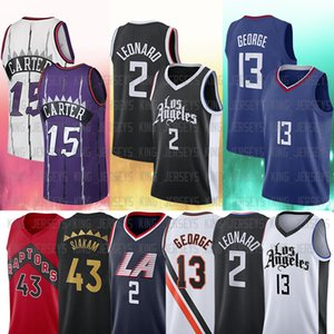 2 Kawhi 13 Paul Leonard George 15 Vince 43 Pascal Carter Siakam 2021 Novas jerseys de basquete