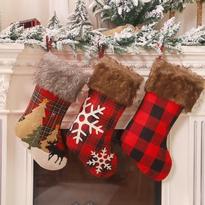 Christmas Tree Snowflake Lattices Stockings Hanging Ornament Xmas Candy Gifts Storage Bags Pendent Holiday Decoration