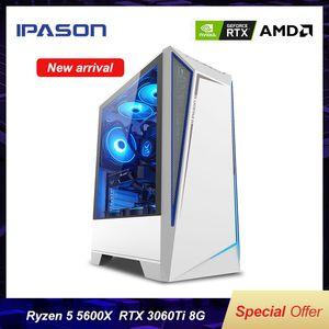 IPASON Battlefield S5 Gaming Computer PC AMD R5 5600X RTX3060TI 8G 500G M.2 SSD 16G DDR4 RAM Desktop E-sport Device