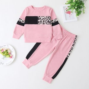 Autumn Outdoor Sport Kids Clothes Set For Girls Fashion Leopard Running Long Sleeve Baby Girl Outfits Girls Cotton Suit D30 201126