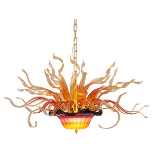 Modern Hand Blown Glass Chandelier Lighting Flame LED Pendant Lamps 32 Inches Wide by 16 Inches High Flower Chandelier Lighting-L
