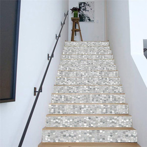 PVC wallpaper gray polygon mosaic simple 13 pieces of DIY stair stickers, step stickers wall stickers z1118