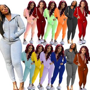 Kadın Eşofman İki Adet Kıyafetler Tasarımcı Giysileri 2021 Kapüşonlu Fermuar Sweatsuits Hırka Uzun Kollu Pantolon Bayanlar 2 Parça Jogger Setleri