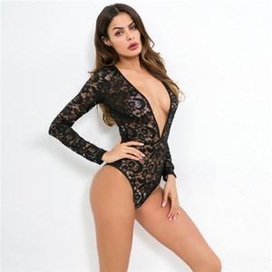 DHL-Sexy تنورة بأكمام طويلة الدانتيل أعلى المرأة القاع قميص مثير عميق v نيسيز لونين بلونها