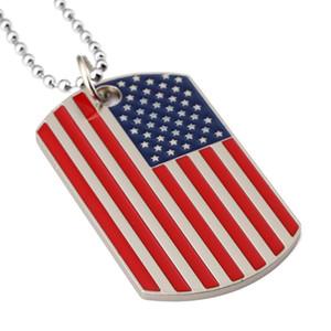 New Gold Placcato Acciaio Inox Army Etichetta militare Trendy USA Simbolo American Bandiera Pendenti Collane per uomo / donna Gioielli BWF3398