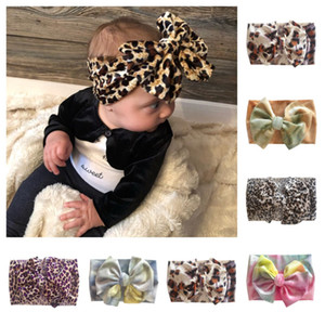 Children Headbands Tie-dyed Leopard Printed Large Bow Hair Band INS Infant Hair Bands Elastic Wide Headband Baby Girls Boys Headwear E120410