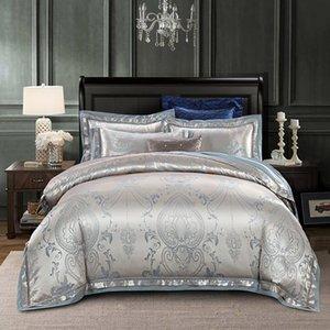 Silk Jacquard Covet Cover набор 4 шт. Queen King Size Bedding Set Ультра мягкая хлопковая постельное белье набор набор наволочки