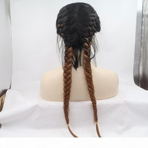 Aohai 2 tone 2 Braids Long Lace Front Wig full heat resistent fiber 24 inches long cheap synthetic hair replacement