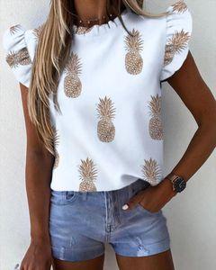 Women Pineapple Floral Print Ruffle Blouse 2020 Summer Butterfly Sleeve Shirt Office Lady Tops Blusa Streetwear