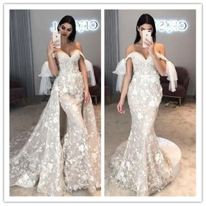 Gorgeous Mermaid Wedding Dresses Off the Shoulder Lace Sequined Embroidery Detachable Train Bridal Gowns Church Custom Made Robe De Mariee