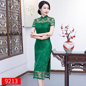 M-3XL Chinese Style Lace Cheongsam Knee Length Women Elegant Slim Dress Retro High Split Sexy Button Party Evening Qipao Vestido