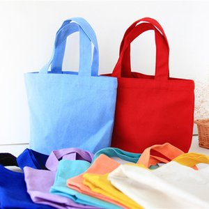Colorful cotton canvas Food bag Lunch Reusable Tote pouch Cosmetic Bag Wedding gift bag Factory wholesale AHD3274
