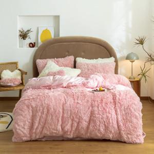 Establecimiento de ropa de cama de invierno de alta calidad Set de invierno Conjunto de ropa de cama Conjunto de ropa de cama Fleece Duvet Funda de almohada Funda de almohada Espesor Conjunto de cama