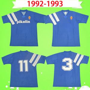 Retro Real Zaragoza Soccer Jersey 1992 1993 Brehme # 3 de Jogo Raríssima Vintage Camiseta de Futbol 92 93 Blue Classic Football Shirt Spain