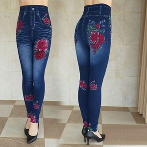 Women's Autumn Winter Size Printing Denim Leggings High Waist Wear Stretch Plus Velvet Imitation Jeans Z136