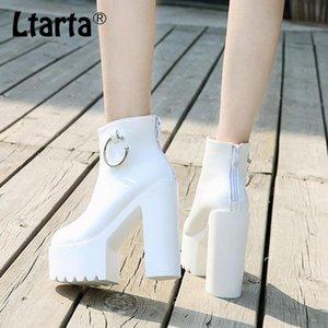 LTARTA 14 CM Topuklu Yeni Beyaz Süper Yüksek Topuklu Kısa Çizmeler Sonbahar Kış Kadın Çizmeler Bayan Ayak Bileği ZYW-659-11