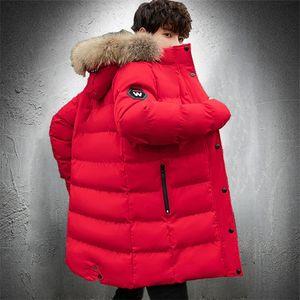 Manteau d'hiver Hommes Collier de fourrure Long Parka Coat Man Outwear Outwear Outwat Veste à bulles Hommes Capuche Jacket Slim Fit Automne Puffer Veste 201201