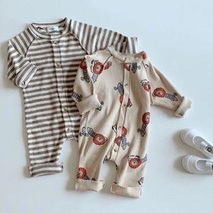 Milancel Baby Одежда Одиночные грудные Детские Девушки Ромпер Лев Печать Младенческие Мальчики Одежда 201028