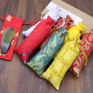 JZqlH Silk and wood comb Packing storage bagbrocade culture and play packaging bag horn comb mouth storage bag