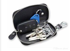 2020 Carte de la voiture Chaîne Chaîne Chaînes Cuir Véritable Smart Keychain Porte-clés Coque Coque Coque Pochette Télécommande FOB Sac à portefeuille Portefeuille Cas de fermeture à glissière Noir